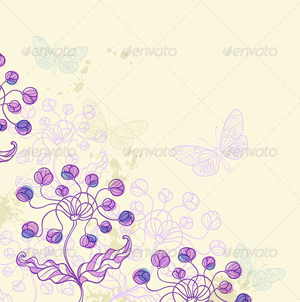 GraphicRiver Background with Violet Flowers 6519580