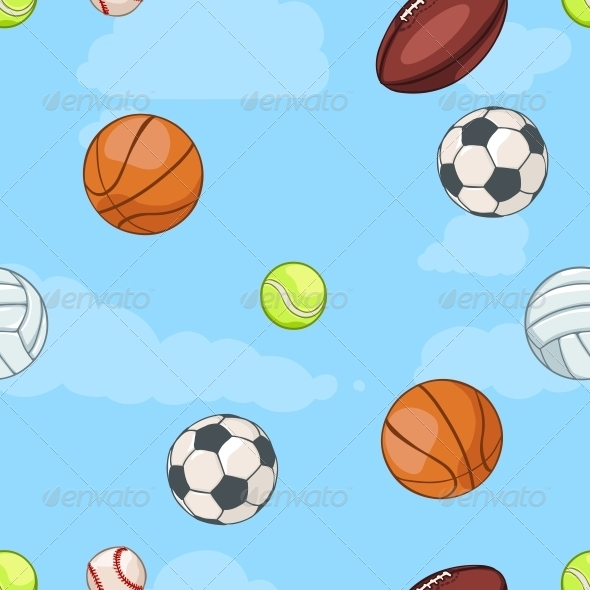 GraphicRiver Seamless Pattern of Sport Balls on Sky 6519606