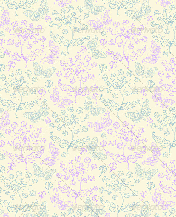 GraphicRiver Pattern with Violet Flowers 6520521