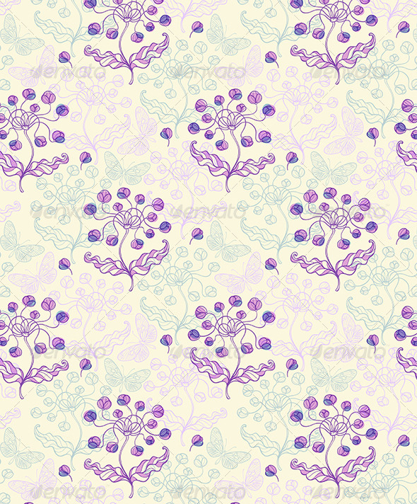 GraphicRiver Pattern with Violet Flowers and Butterflies 6520803