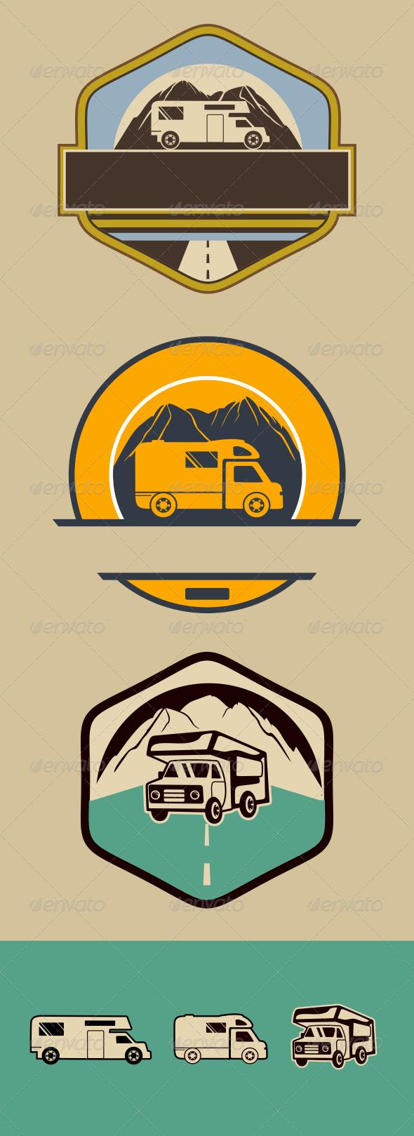 GraphicRiver Three Vintage RV Camper Badges 6520846
