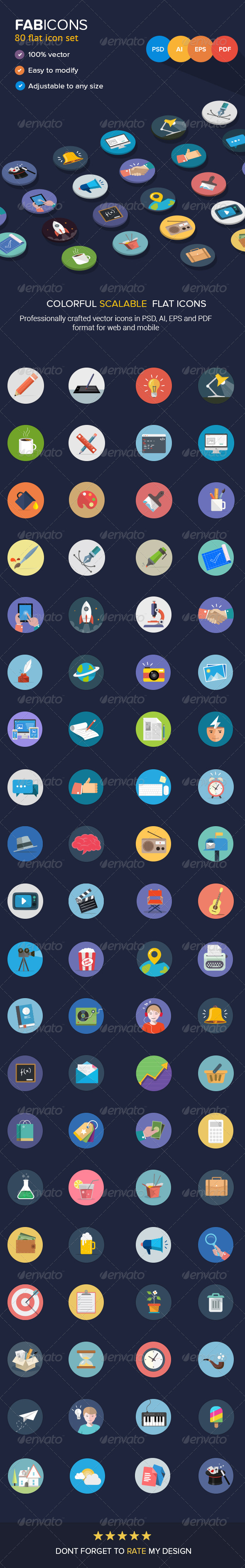 GraphicRiver 80 Fresh Flat Vector Icons 6520907