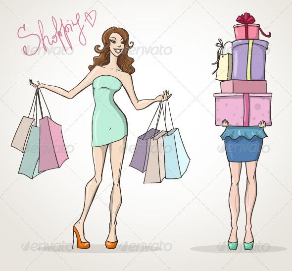 GraphicRiver Shopaholic Shopping Girls 6521009