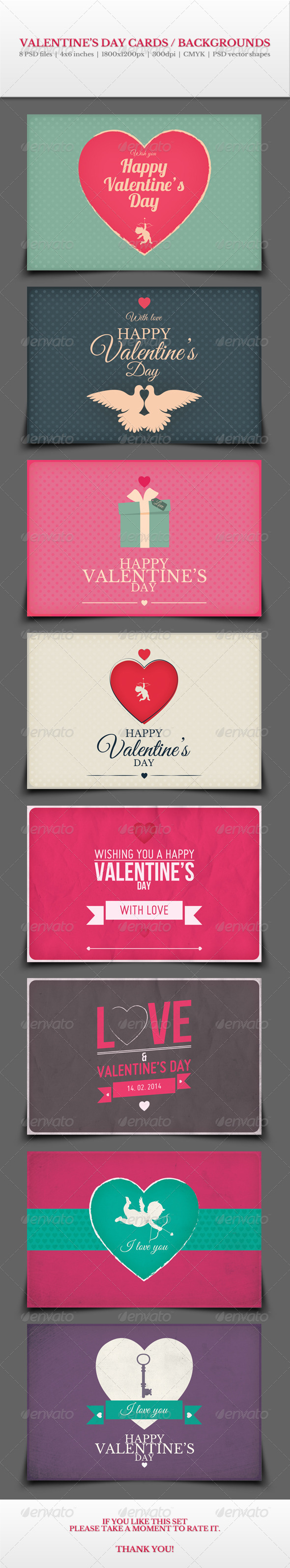 GraphicRiver Valentine s Day Cards Backgrounds Vol.2 6521381