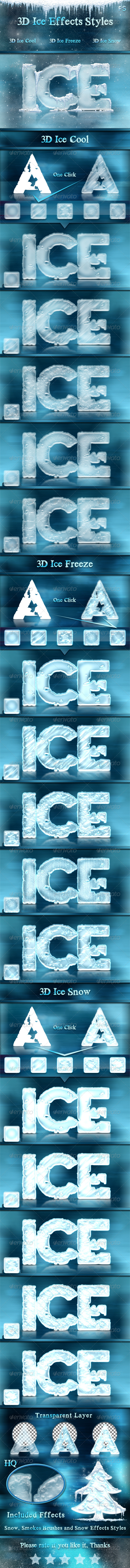 GraphicRiver 3D Ice Cool Freeze & Snow Effects Styles 6500617