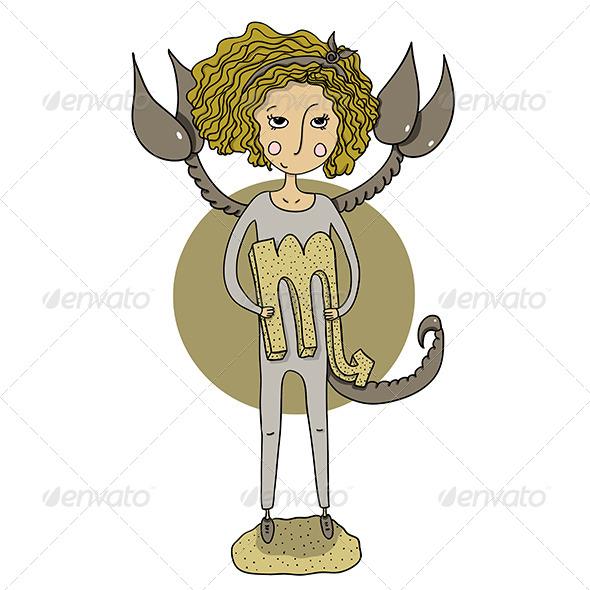 GraphicRiver Scorpio Cartoon Girl 6522609