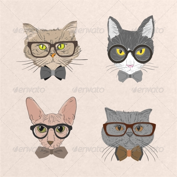 GraphicRiver Collection of Hipster Cats 6522613