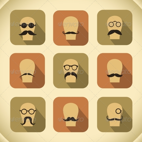 Set of Hipster Mustaches and Glasses
