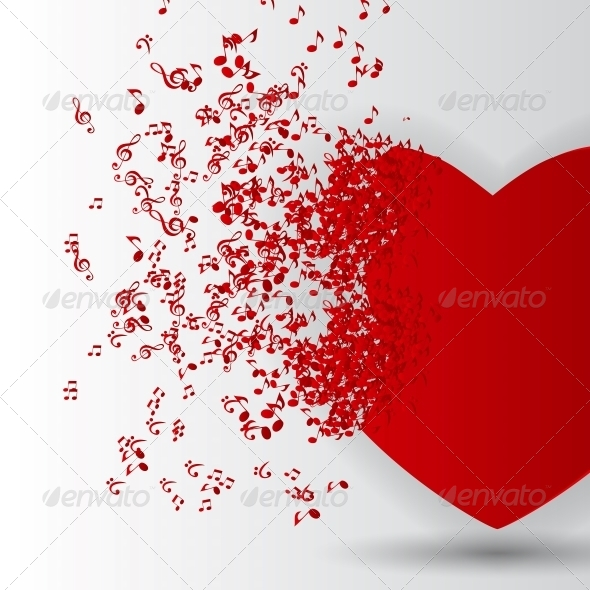 GraphicRiver Happy Valentines Day Card with Heart and Music 6522799
