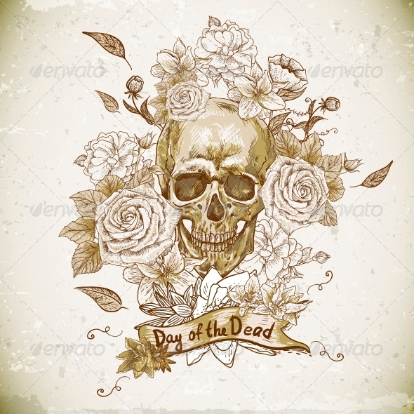 GraphicRiver Skull with Roses Day of the Dead 6522931