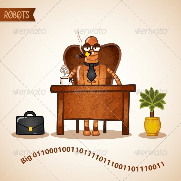 GraphicRiver Big Boss with Coffee Sitting at the Desk 6523085