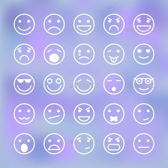 GraphicRiver Icons Set of Smiley Faces for Mobile Application 6523102