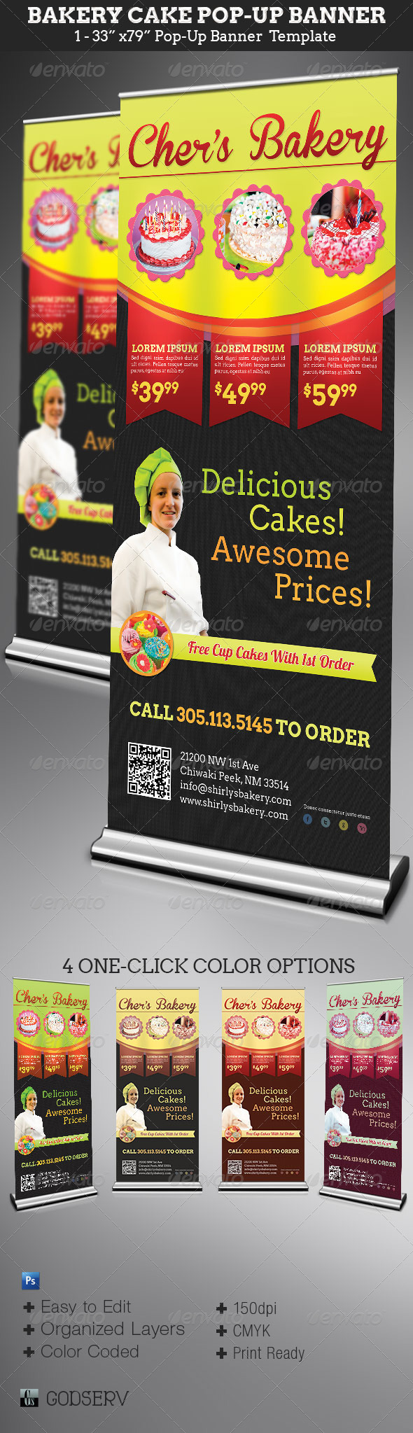 Bakery Cake Pop-Up Banner Template - Signage Print Templates