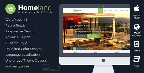 ThemeForest Homeland Responsive Real Estate WordPress Theme 6518965