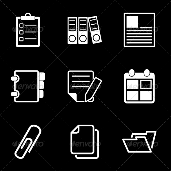 GraphicRiver White Document Office Icons 6524323