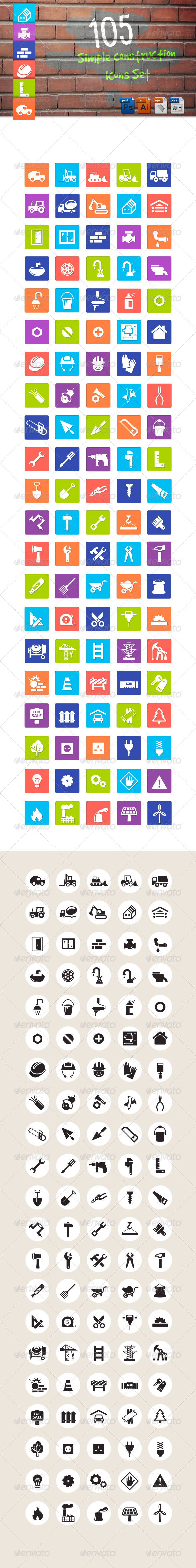 GraphicRiver Simple Construction Icons Set 6524361