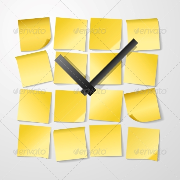 GraphicRiver Paper Clock Design with Stickers 6524373