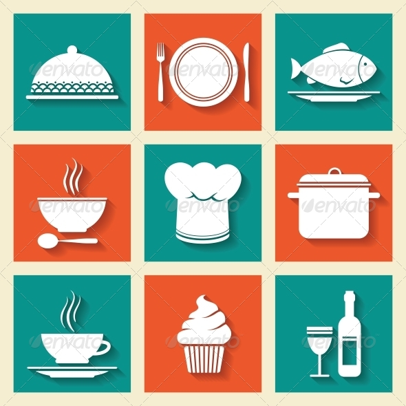 GraphicRiver Icons Set for Restaurant or Cafe 6524532