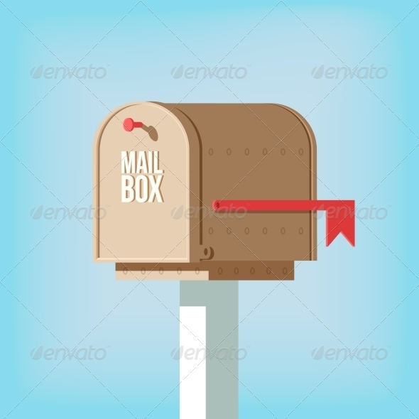 GraphicRiver Mail Postbox on Pole with Red Flag 6524534
