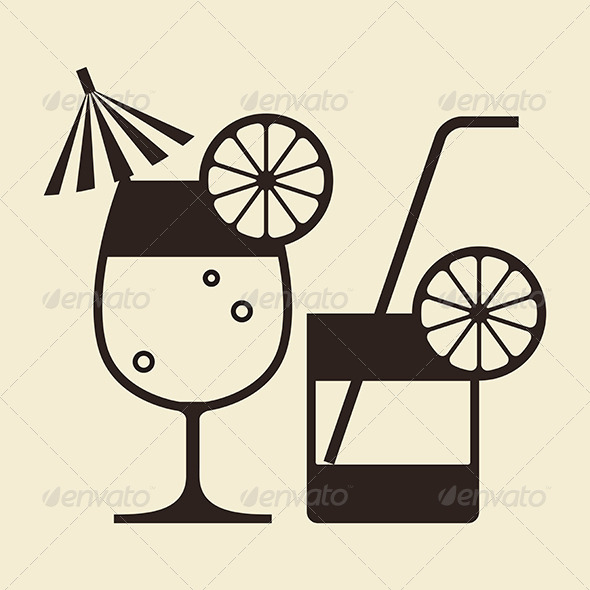 GraphicRiver Cocktails with Lemon and Drinking Straw 6524537