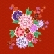 Decorative Kimono Floral Motif on Red Background - GraphicRiver Item for Sale