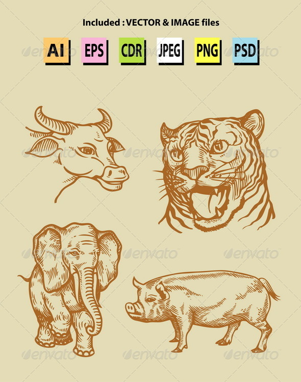 GraphicRiver Vintage Animal Sketches 6524649