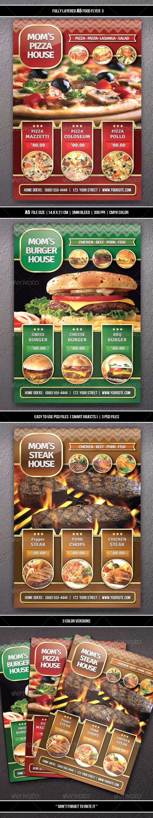 GraphicRiver Food Flyer 3 A5 6524881