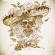 Skull in Sombrero with Flowers Day of The Dead - GraphicRiver Item for Sale