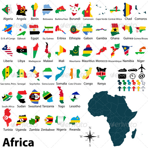 GraphicRiver Maps with Flags of Africa 6525248