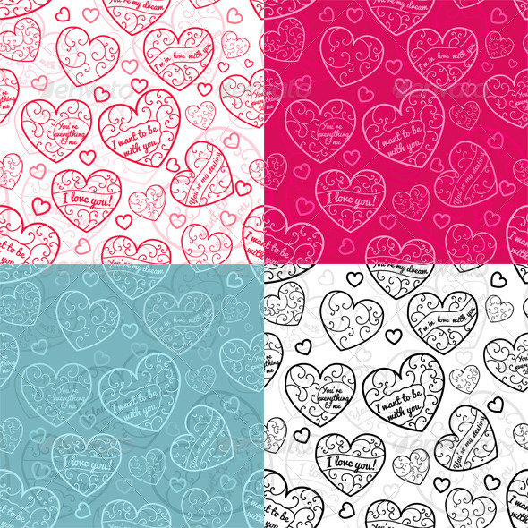 GraphicRiver Seamless Patterns of Hearts 6525767