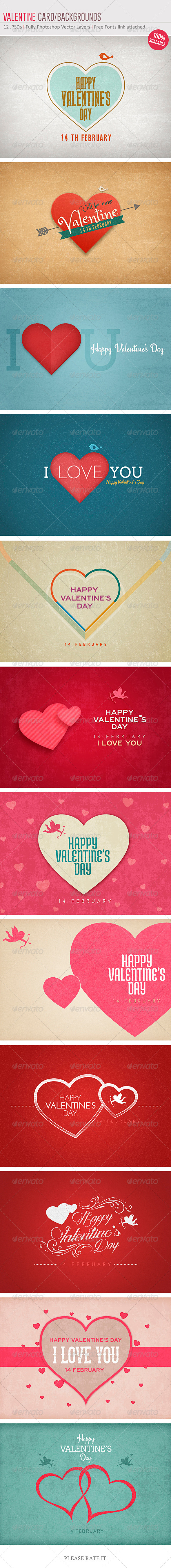 GraphicRiver Valentine Card Backgrounds 6525771