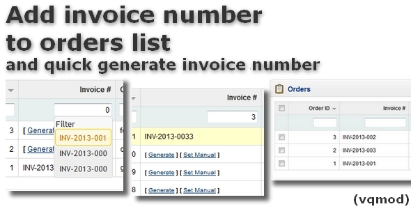 Add Invoice Number to Orders List for OpenCart