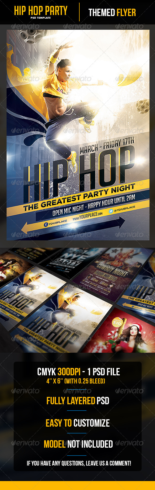 GraphicRiver Hip Hop Party Flyer Template 6525809