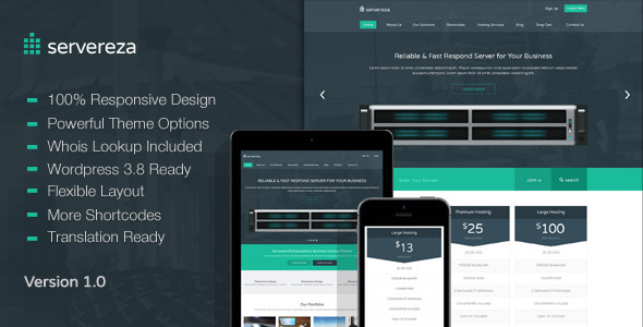 ThemeForest Servereza Hosting Multipurpose WP Theme 6514085