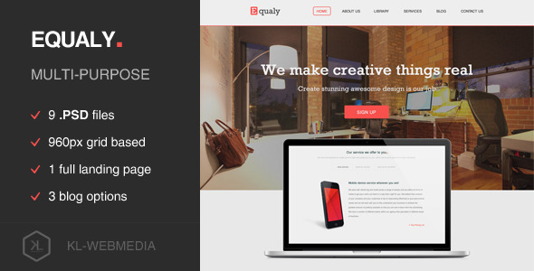 ThemeForest Equaly Mutlipurpose PSD Template 6526066
