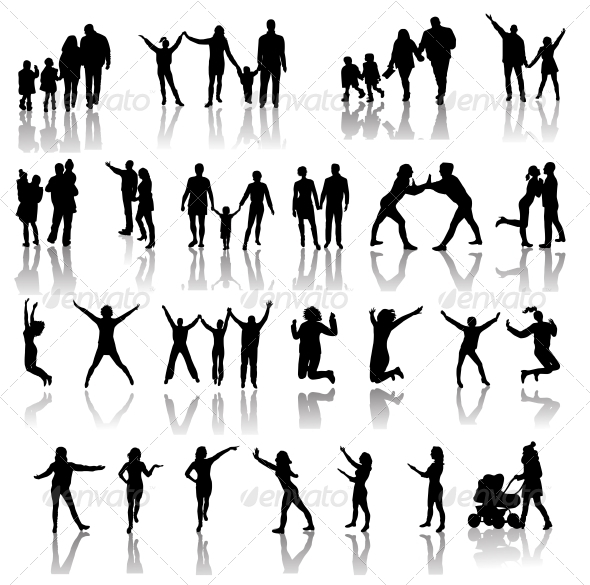 GraphicRiver Family Silhouettes Vector 6526484