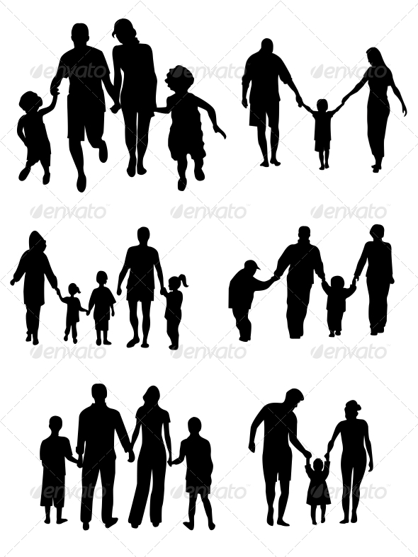 GraphicRiver Family Silhouettes Vector 6526603