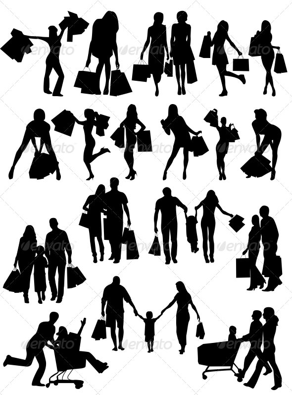 GraphicRiver Shopping Family and Girls Silhouettes 6526613