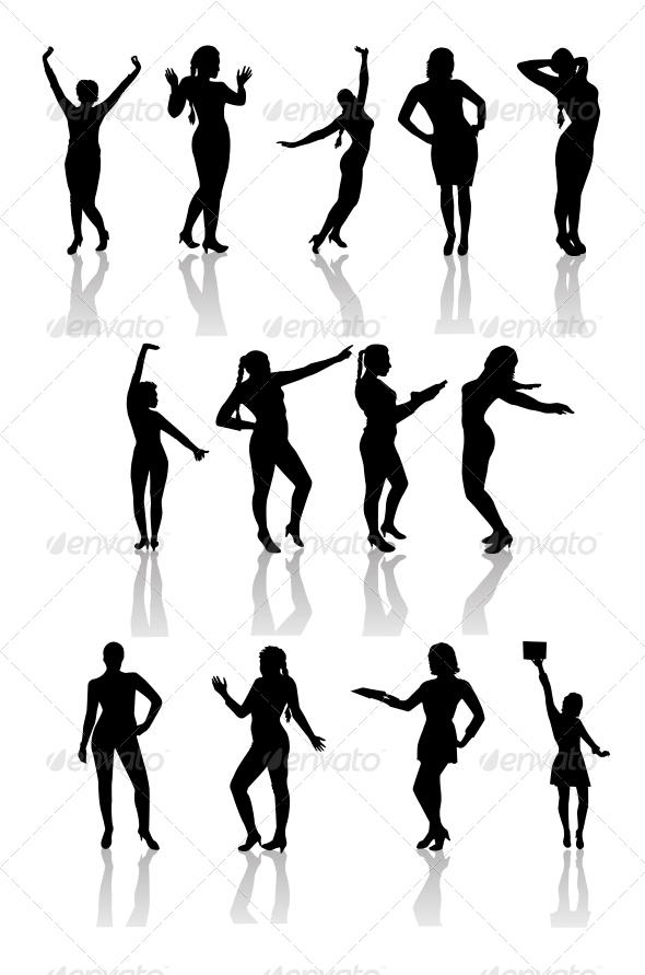 GraphicRiver Silhouettes of Girls with Shadow 6526644