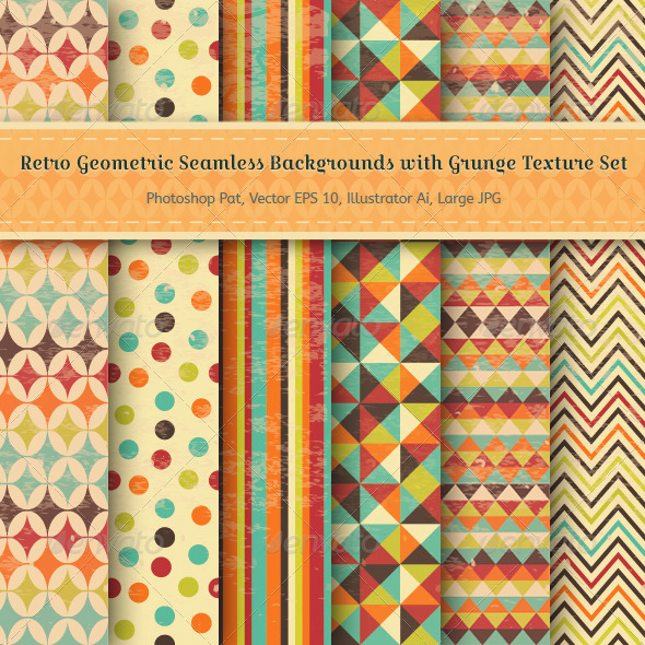 GraphicRiver Set of Retro Geometric Seamless Backgrounds 6526745