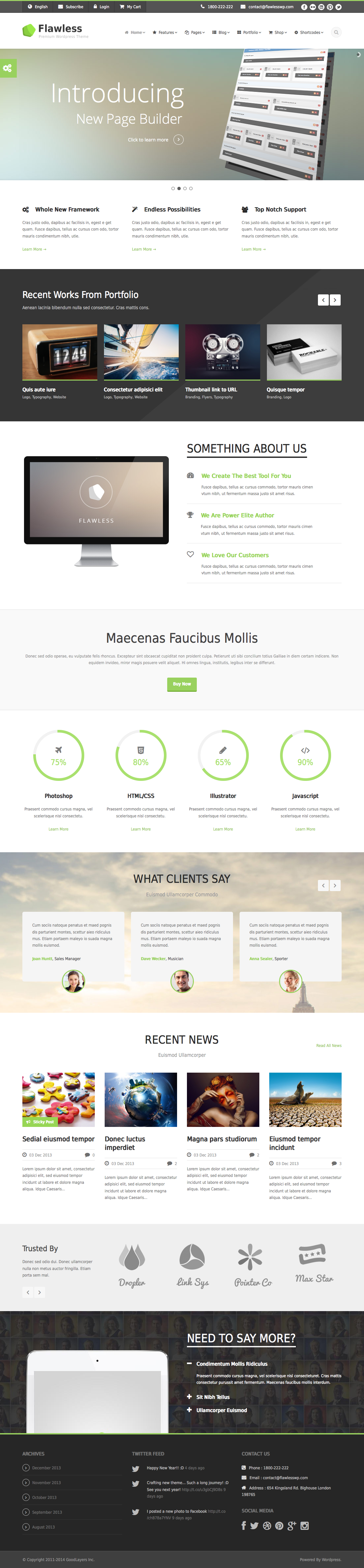 Flawless - Responsive Multi-Purpose WP Theme - index page with color changed