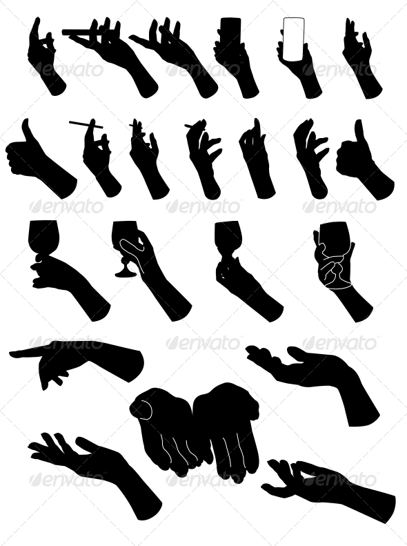 GraphicRiver Set of Silouette Hands Hand Holding Objects 6526942