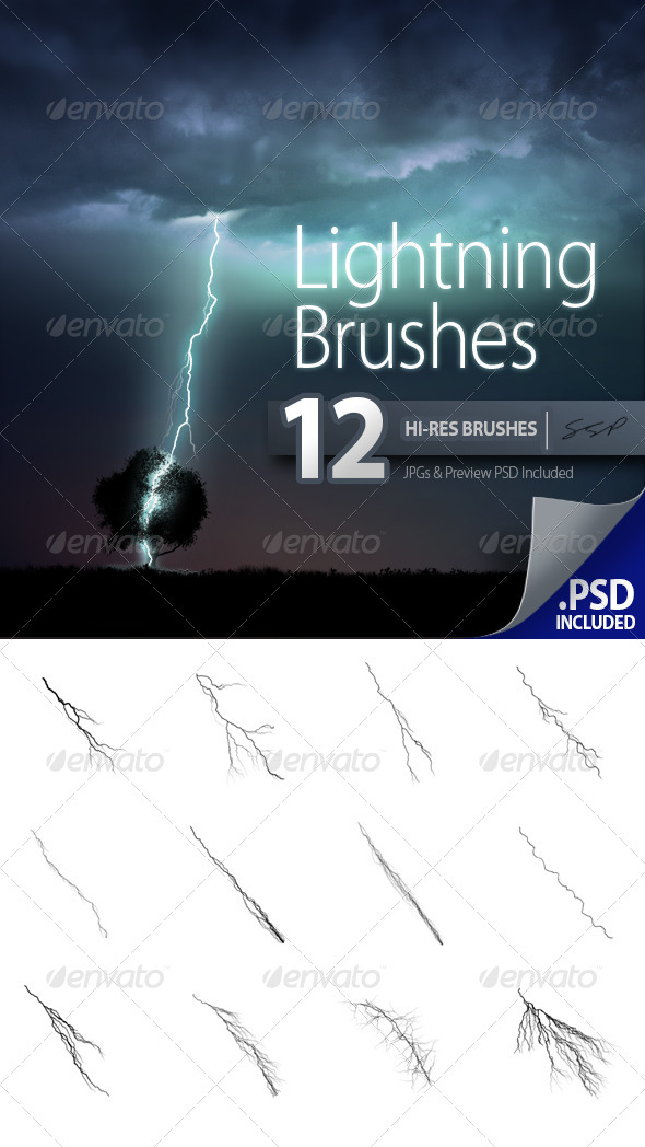 GraphicRiver 12 Hi-Res Lightning Brushes 6527061