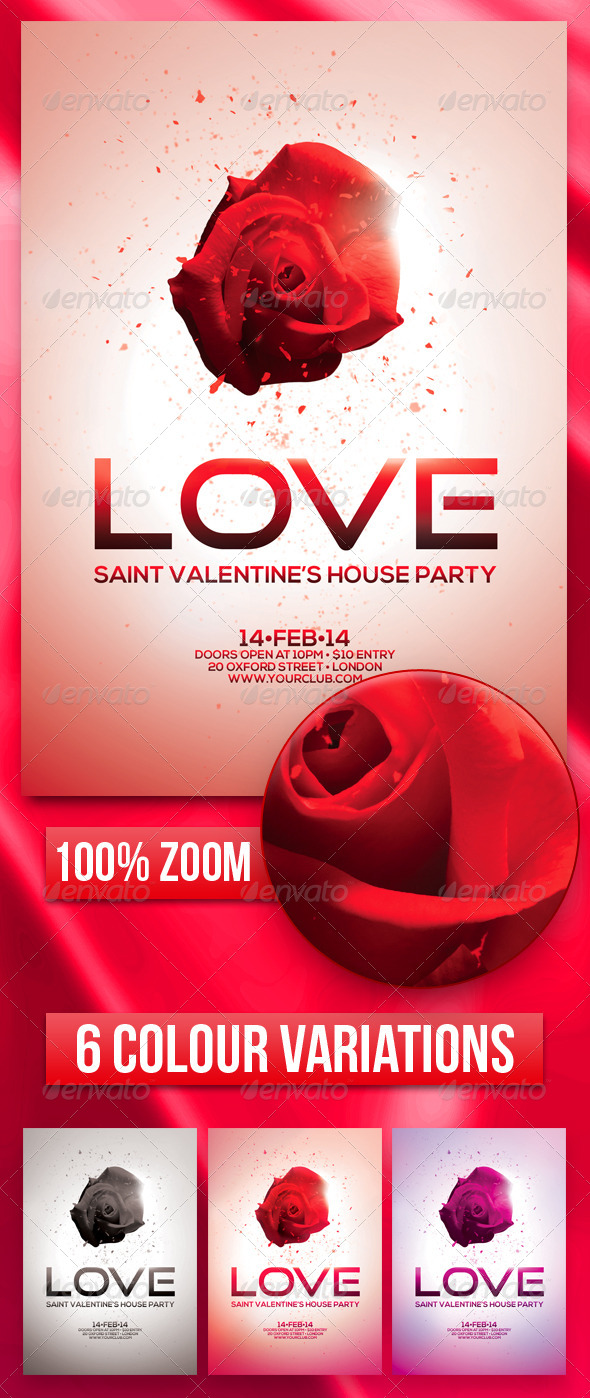 GraphicRiver A5 Saint Valentine s House Party Flyer 4 in 1 6527509