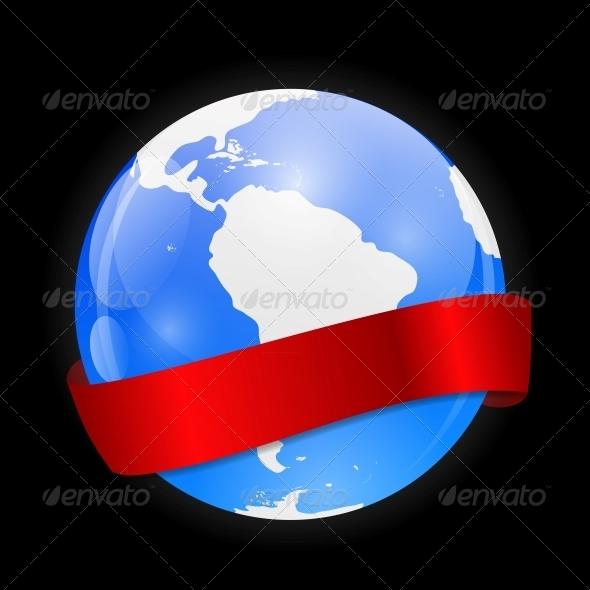 GraphicRiver Globe Icon with Ribbon 6527777