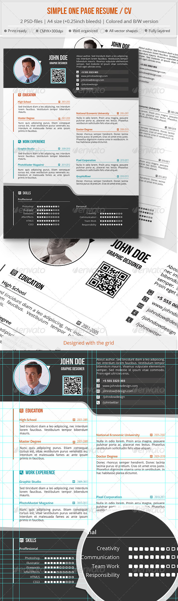 GraphicRiver Simple One Page Resume CV 6527799