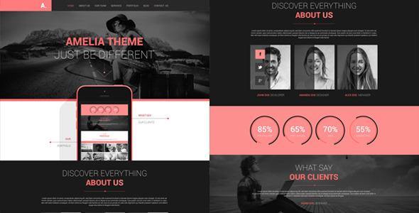 Amelia - One Page PSD Portfolio Template - Creative PSD Templates