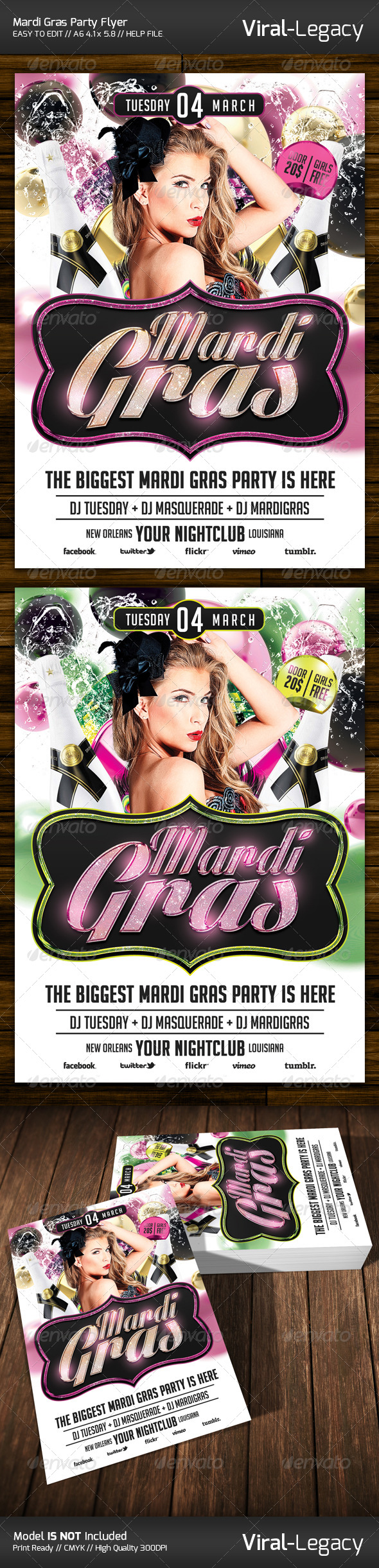 GraphicRiver Mardi Gras Party Flyer 6528152