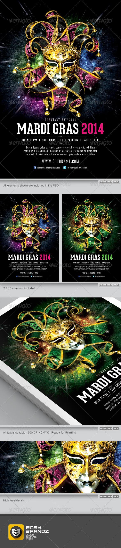 GraphicRiver Mardi Gras 2014 Flyer Template 6528264