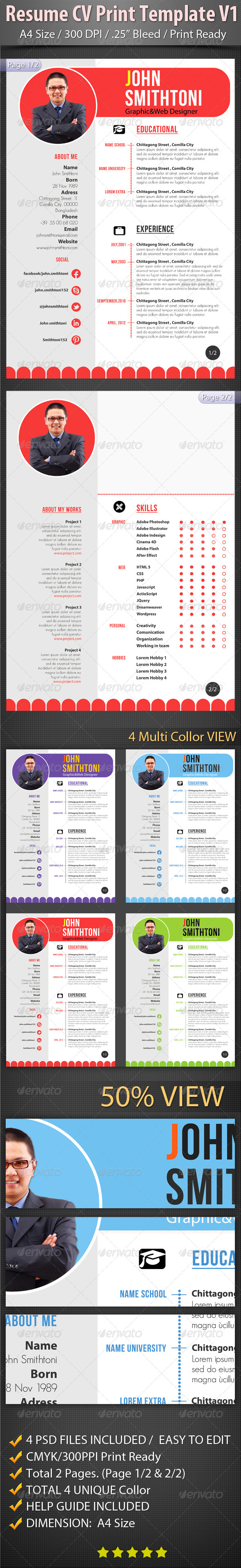 GraphicRiver Resume CV Print Template V1 6529341